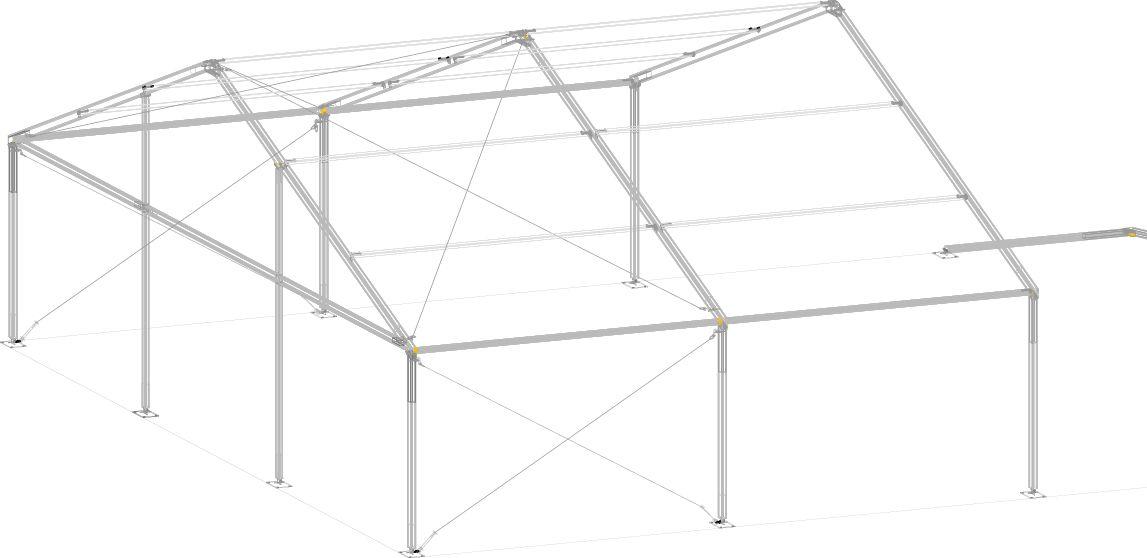 estructura de dos pórticos de la carpa