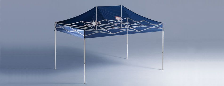 carpa plegable con estructura vista