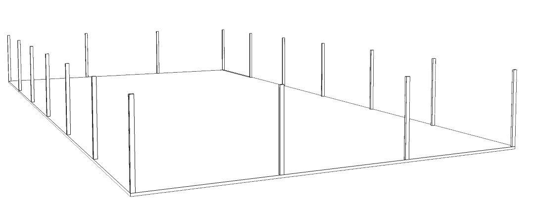 perfiles verticales de la carpa 15 x 30