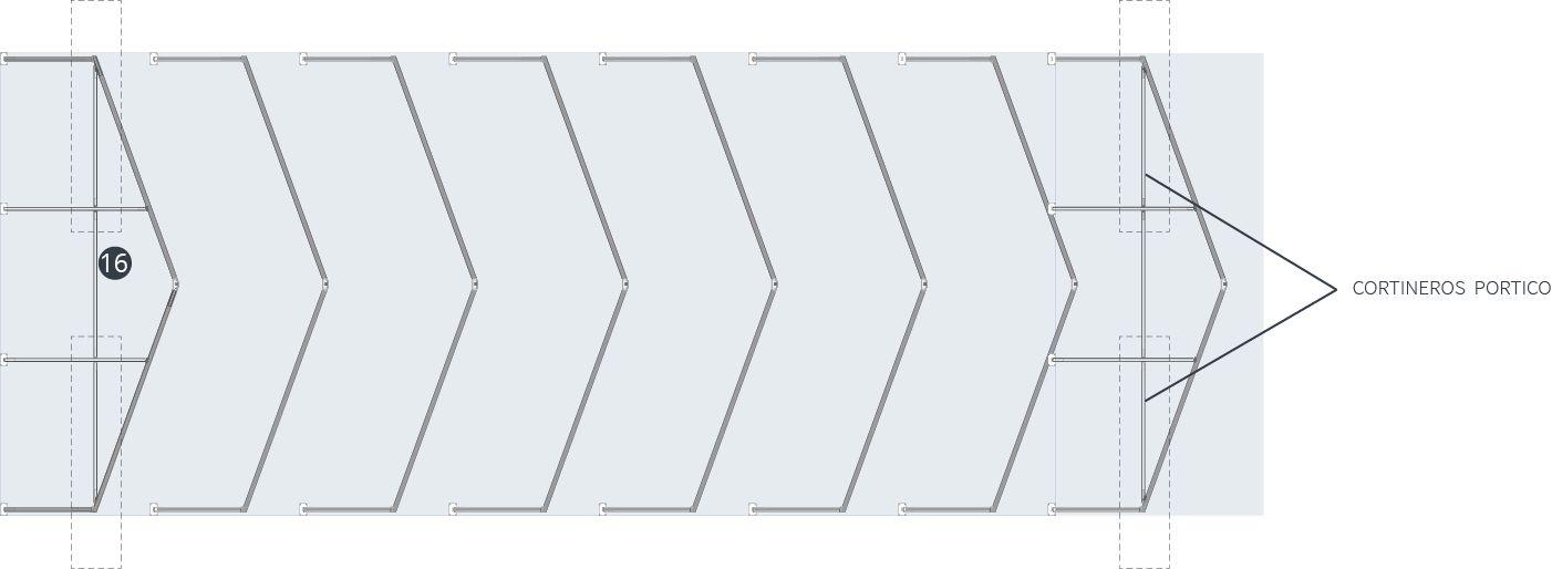 colocacion cortineros y pilares de frente de pórtico